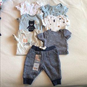 Carter's Newborn onesies, joggers and burp cloths